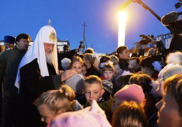 Патриарх Кирилл на закладке храма св. равноап. князя Владимира в п. Угольные Копи