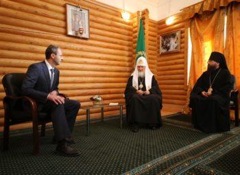 Встреча Патриарха Кирилла с Губернатором Чукотки Р.В. Копиным и епископом Матфеем